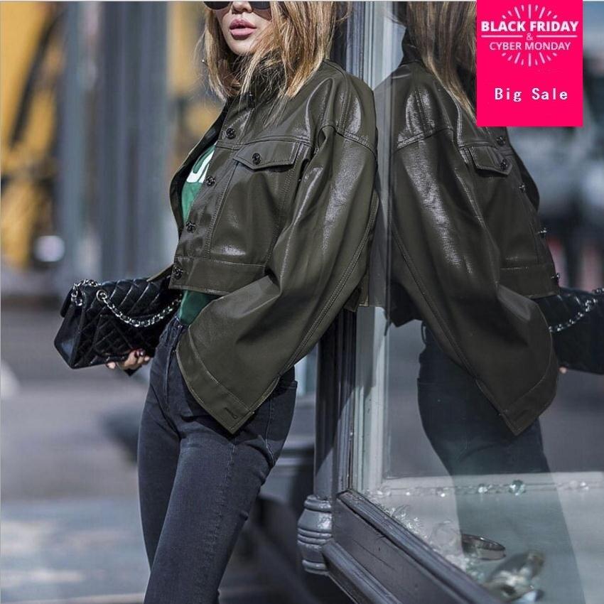 2109 fashion brand green Patent leather jacket female Glossy fabric pu leather short coat European stations Slim jackets wj2717