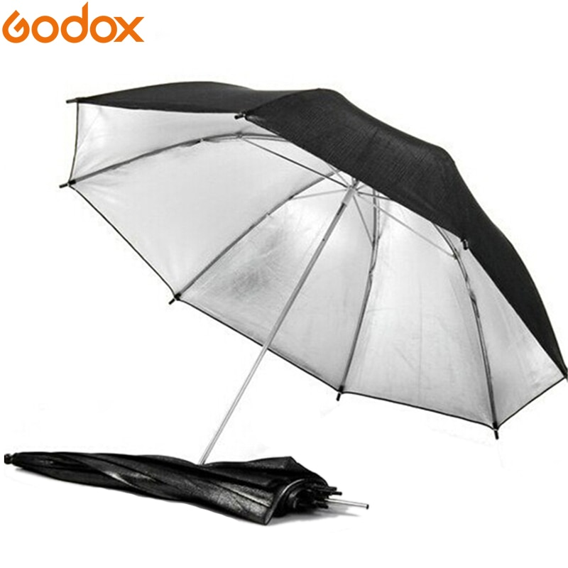 "Gododx 43""/110cm Professional Photography Studio Reflective Lighting Black Silver Umbrella"