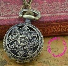 Prix de gros acheteur bonne qualité mode vintage rétro classique nouveau bronze mini fleur quartz montre de poche collier