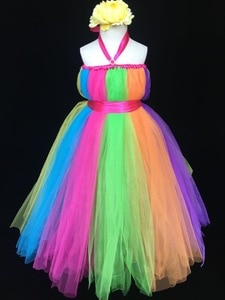 Rainbow Color Girls Tulle Long Dress Kids Fluffy Strap Tutu Dress Flower Ball Gown with Ribbon Bow Children Wedding Party Dress
