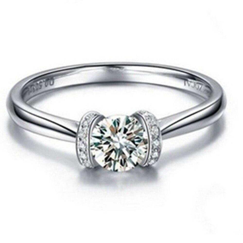 1CT الزواج D VVS1 الماس مجوهرات خاتم الخطوبة المرأة الزفاف الصلبة البلاتين 950 مجوهرات Pt950 مختوم