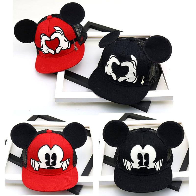 Moda dos desenhos animados crianças chapéu menino e menina bonés de beisebol bonito mouse mickey boné de beisebol com orelhas plana boné de beisebol do bebê chapéus de viagem