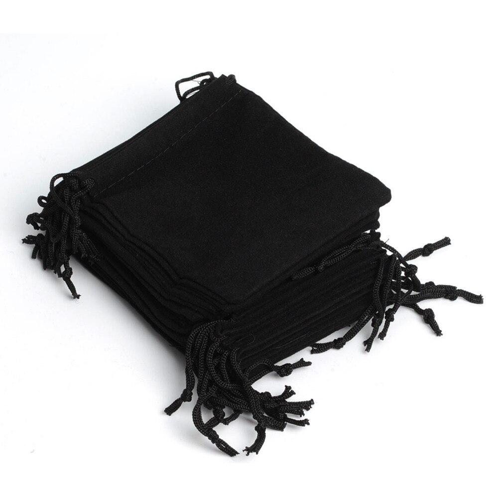 100 шт., 12*10 см, черный бархатный мешочек, сумка на шнурке, Подарочная сумка для свадьбы, праздника, Нового года, Рождества, вечеринки, Подарочна...