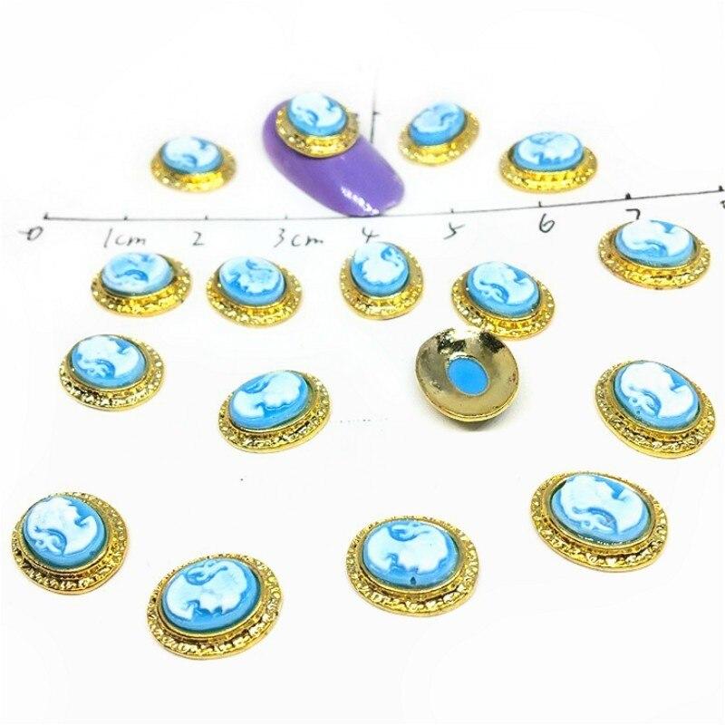 Золотые металлические подвески для ногтей, декоративные 3d металлические Красивые Гвоздики в форме головы, аксессуары для голубой камеи, ди...