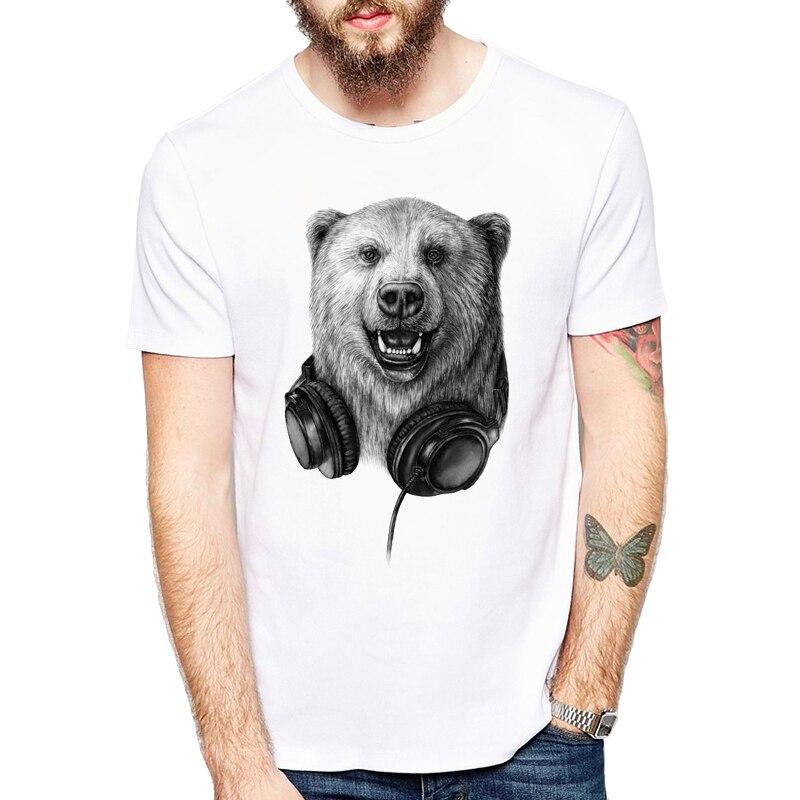 Engraçado selvagem dj urso impressão t camisa casual música rocke t camisas casual manga curta o-pescoço 3xl tshirt men