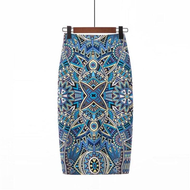 Blue Retro Print Pencil High Waist Skirts Vintage Elegant Print Knee-Length Flower Skirt For Women Summer Skirts YHQ-3