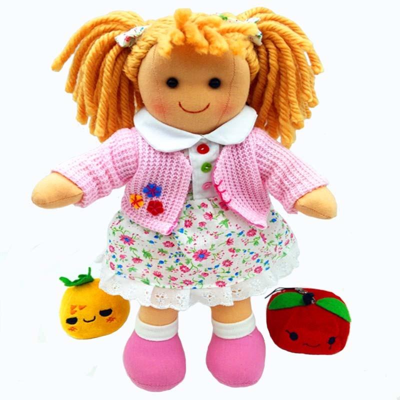 High quality fashion kids rag doll toy for girls pink soft baby born doll toy birthday gift machine washable
