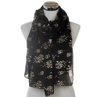 winfox 2018 new fashion women black white foil gold fish long scarf for ladies