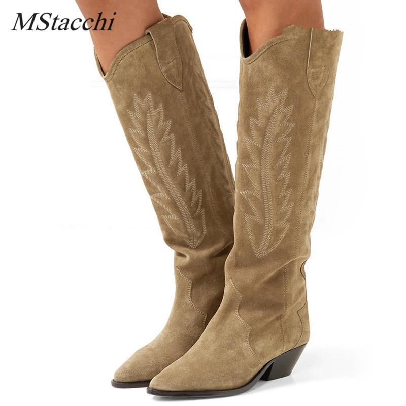 MStacchi/черные замшевые сапоги до колена с вышивкой; Женские зимние высокие сапоги на каблуке-шпильке с острым носком; Рыцарские сапоги на плоской подошве