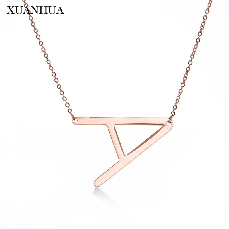 XUANHUA Rose Gold Charme Brief Halskette Edelstahl Schmuck Frau Vogue 2019 Schmuck Zubehör Geschenke Für Frauen Kette