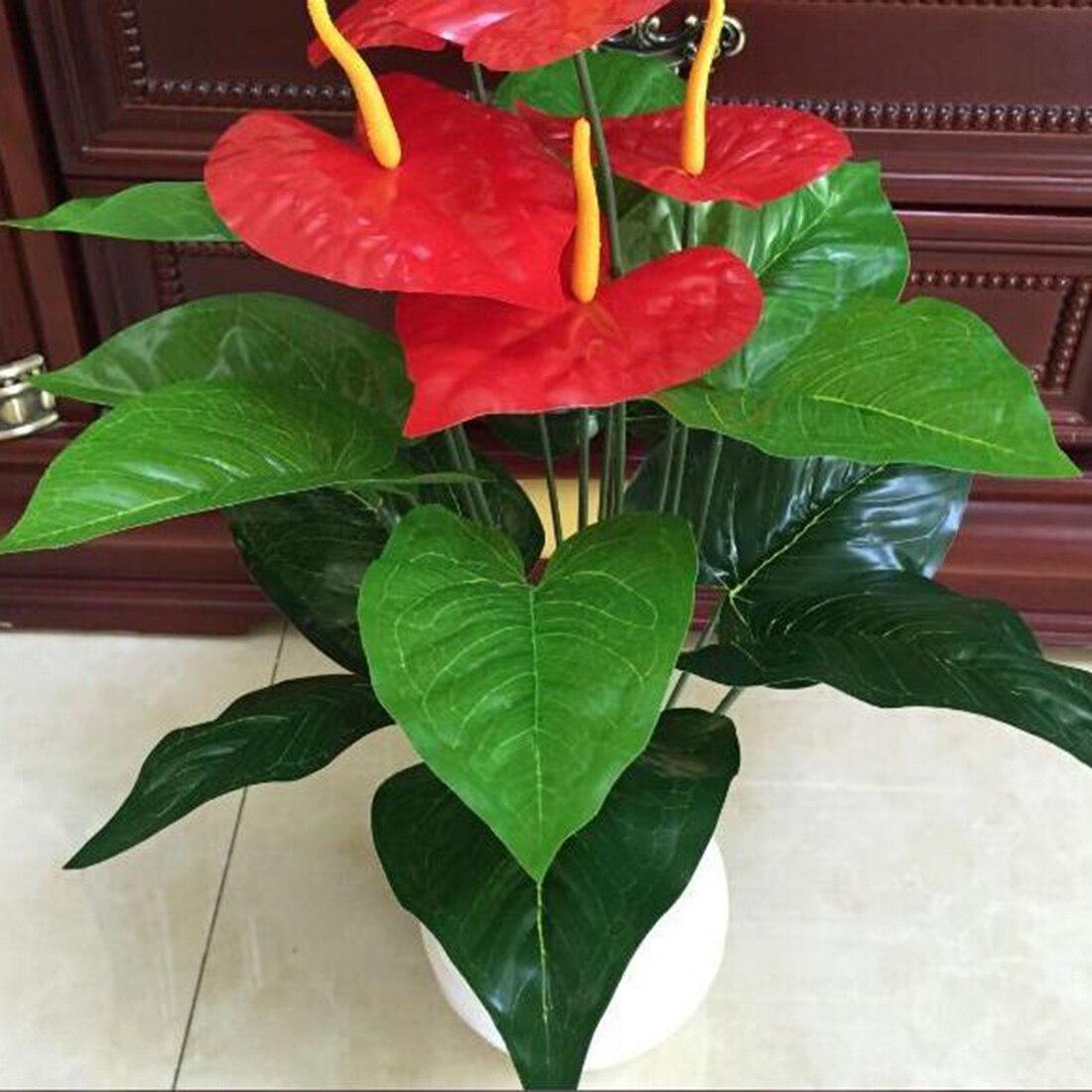 Новый искусственный цветок с 18 головками, маленький в горшках, костюм из шелка, большой Антуриум в горшке, офисное украшение, бонсай, оптовая продажа