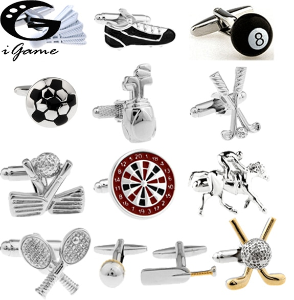 iGame Factory Price Supply Sport Cuff Links Golf Football Tennis Design Free Shipping