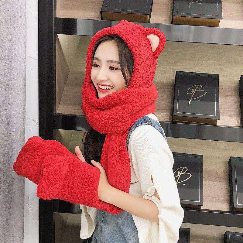 Zdfurs Winter Hat Women Double Thick Hat Scarf Gloves One Three Piece Korean Version Parent Child Thickening Scarf Students Women S Scarf Sets Aliexpress