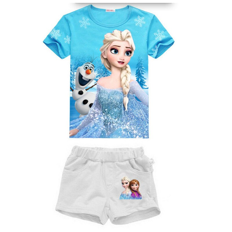 Summer Girls Clothes Set Fashion Children Sports Suits Elsa Anna Princess Kids Girls Short Sleeve T-shirt Tops + Shorts New