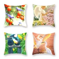 4pcsset polyester cushion cover flowers birds parrot pattern decorative pillow covers car sofa office seat decor cases 45x45cm