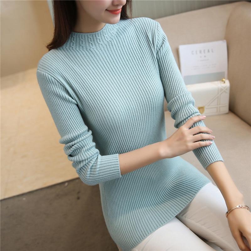27 nuevo suéter de invierno estiramiento Delgado cuello alto camisa F1896 medio giro