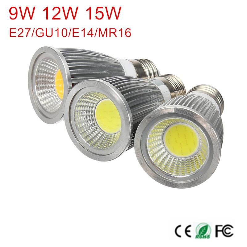 Бесплатная доставка 1 шт. Диммируемые GU10/E27/E14/MR16/9 Вт 12 Вт 15 Вт COB AC85-265V/AC110V/220 В/DC12V Светодиодные лампочки высокой мощности