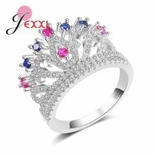 Nouveauté bijoux de mode 925 en argent Sterling femme mariage couronne de mariée anneaux avec rose bleu Zircon pour les femmes