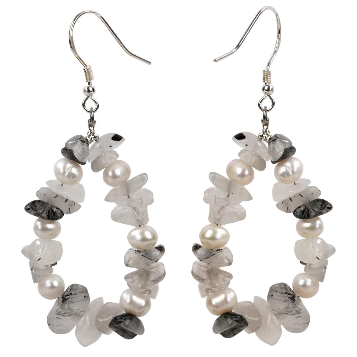Yacq de Cuarzo rutilado perlas de Plata de Ley 925 pendientes de plata pendientes colgantes hechos a mano de joyería regalos para las mujeres la mamá chicas Mujer