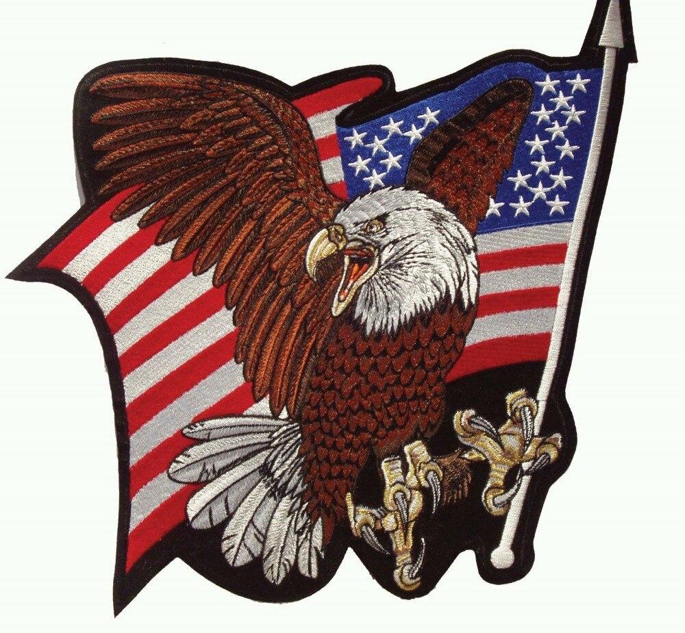 Parche bordado personalizado águila calva bandera de Estados Unidos Patriot plancha sobre insignia pegatina para ropa DIY logo servicio personalizado