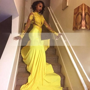 Yellow Robe De Soiree Mermaid Long Sleeves Appliques Sexy Long Women Party Prom Dresses Prom Gown Evening Dresses