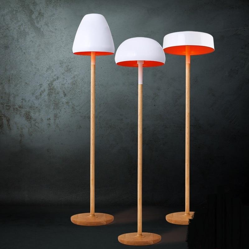 Lámpara de pie blanca nórdica, lámparas de suelo de madera sólida, decoración de Sala, dormitorio, bar, Luz de suelo, lámpara de hongo ZA81588
