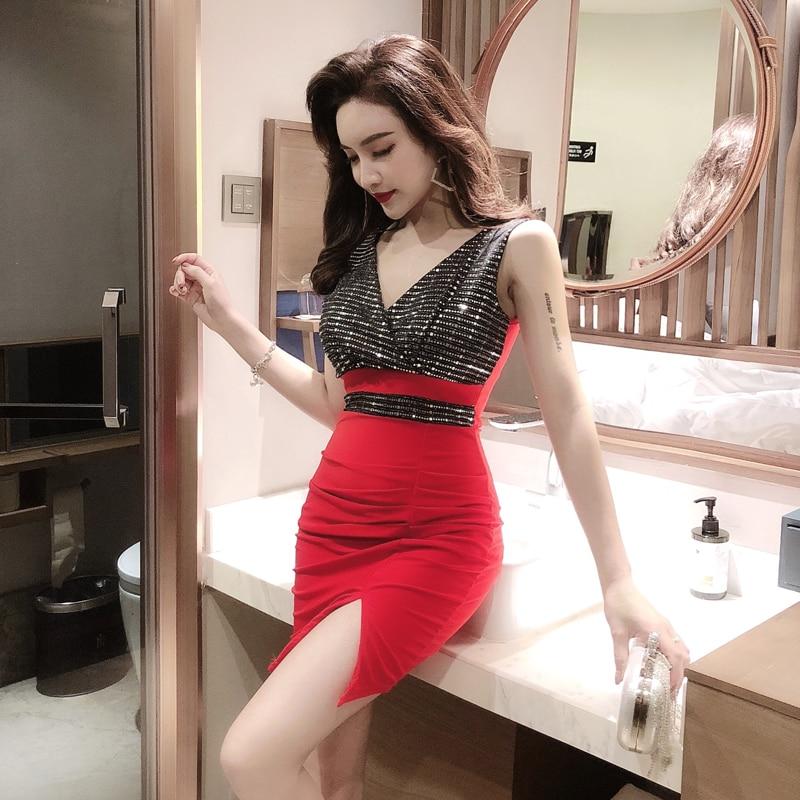 2019 nova lantejoulas costura de baixo corte magro sexy feminino divisão temperamento orvalho mochila hip vestido plus size vestido de lantejoulas 9135