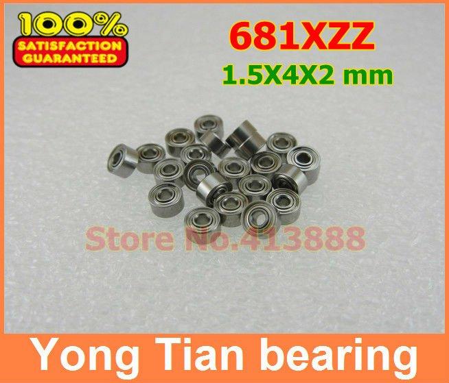 500pcs free shipping thin wall deep groove ball bearing 681XZZ 1.5*4*2 mm
