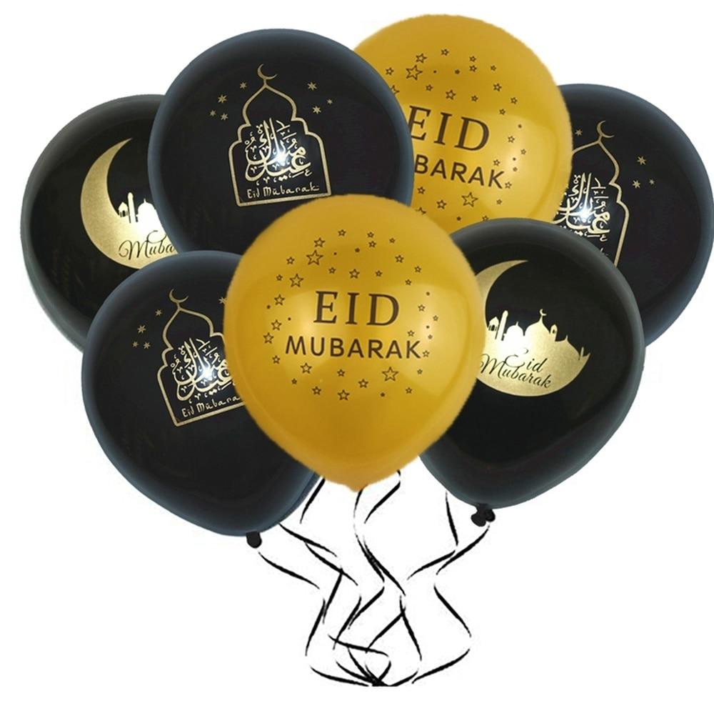 10 Uds globos Eid mubarak, globos de Feliz Eid, decoración de Año Nuevo Islámico, feliz Ramadán, suministros de decoración del Festival musulmán Ramadán