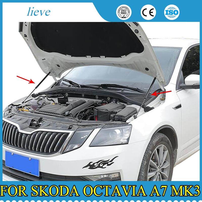 2Pcs Car Gas Shock Hood Shock Strut Damper Lift Support for Skoda Octavia A7 MK3 Stainless Steel Hydraulic Rod Car Accessories
