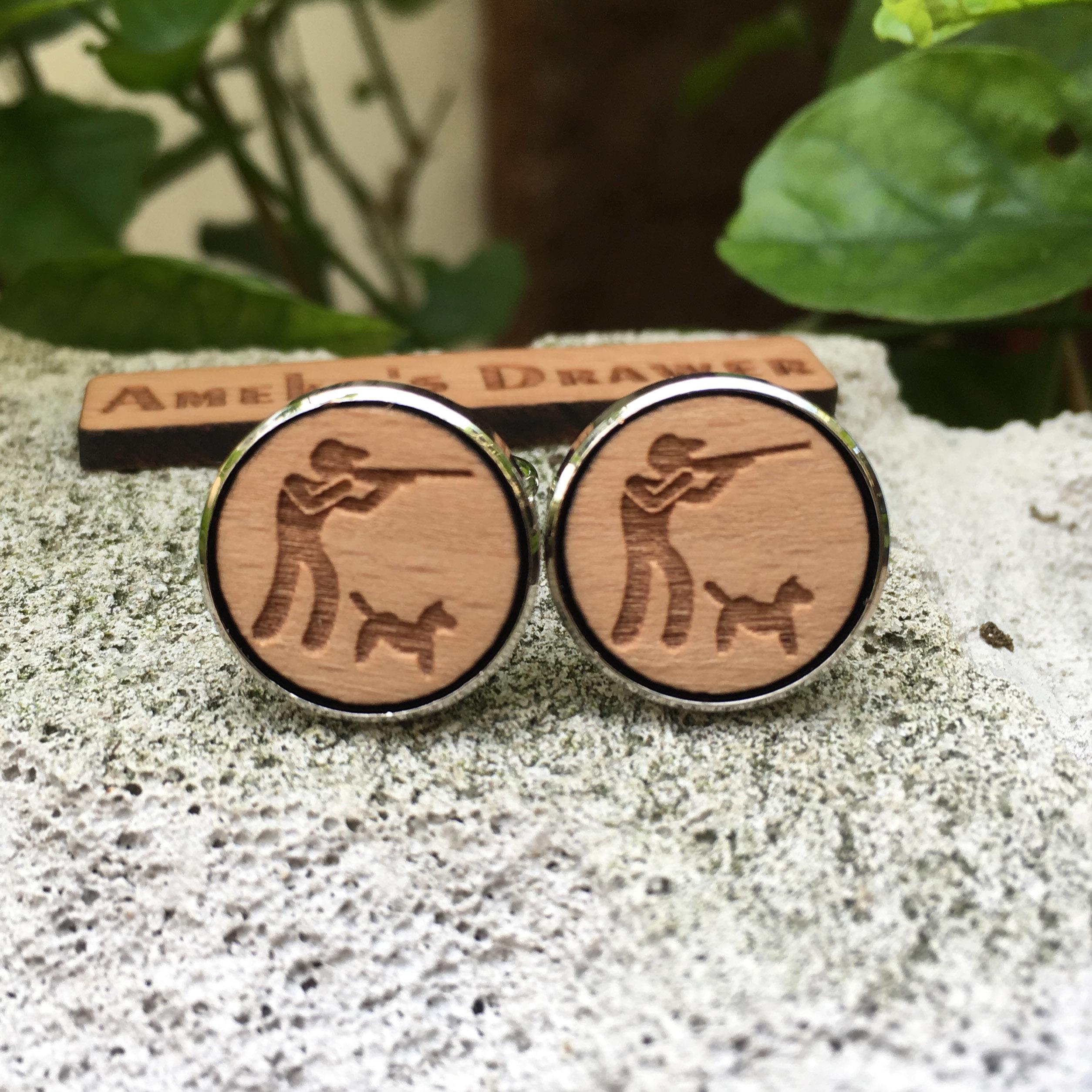 Gemelos grabados con láser Hunter, gemelos de madera para caza, accesorio para traje de perro Huntsman Stud Hungting X 1 par