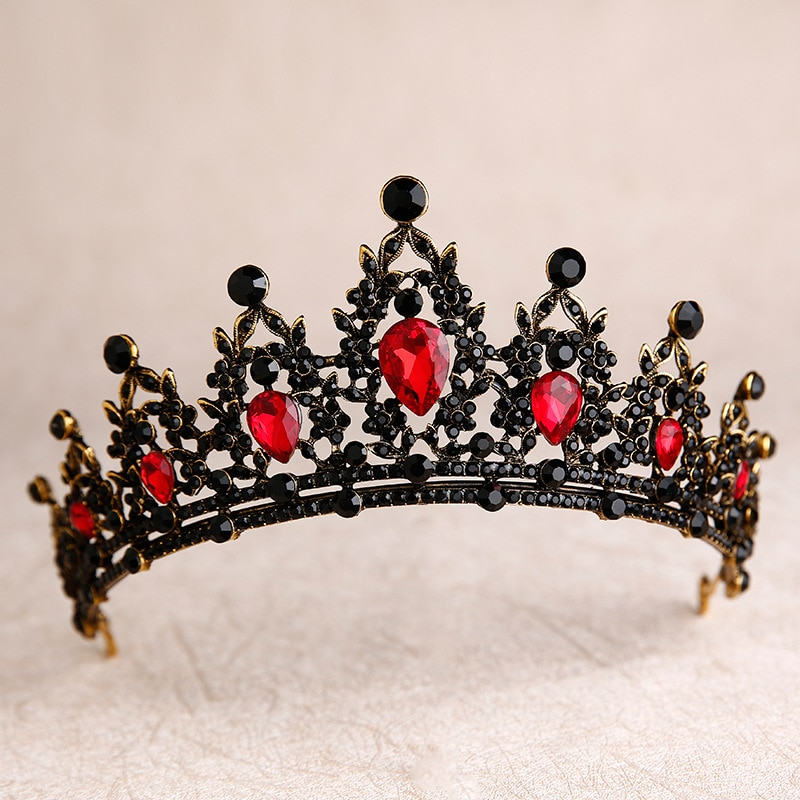 Baroque Black Red Green Crystal Heart Bridal Tiaras Crown Rhinestone Diadem Pageant Veil Tiara Headband Wedding Hair Accessories