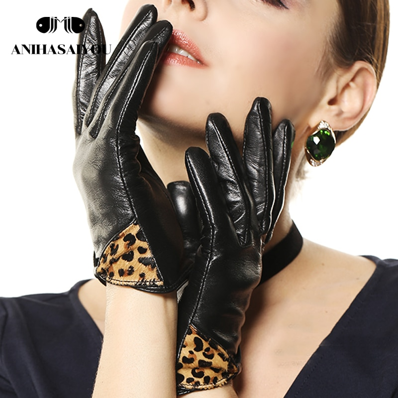 Women genuine leather gloves winter warm fashion leopard bow short sheepskin woman leather- L100