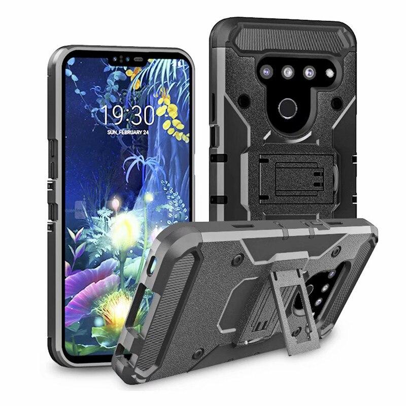 Para LG V50 V30 G6 G8 V5 Thinq Stylo 3 4 Anti Shock soporte Clips de cinturón armadura caso a prueba de golpes a prueba completa protector de cubierta de goma de los casos