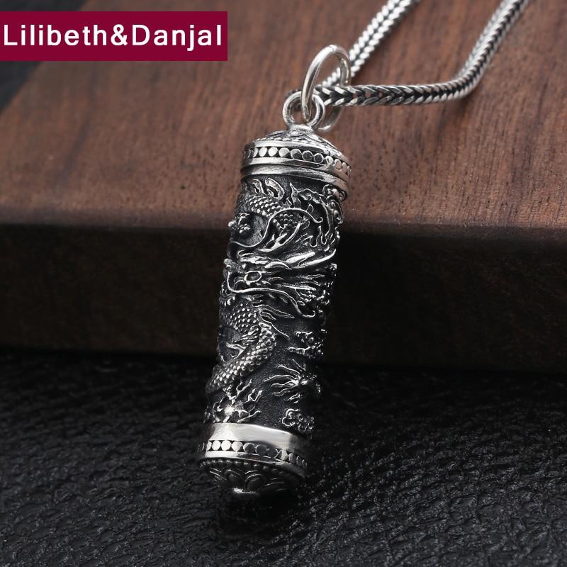 Gawu Box wisiorek w kształcie smoka 100% 925 Sterling Silver biżuteria mężczyźni otwierane totem naszyjnik tworzenie wisiorów P135