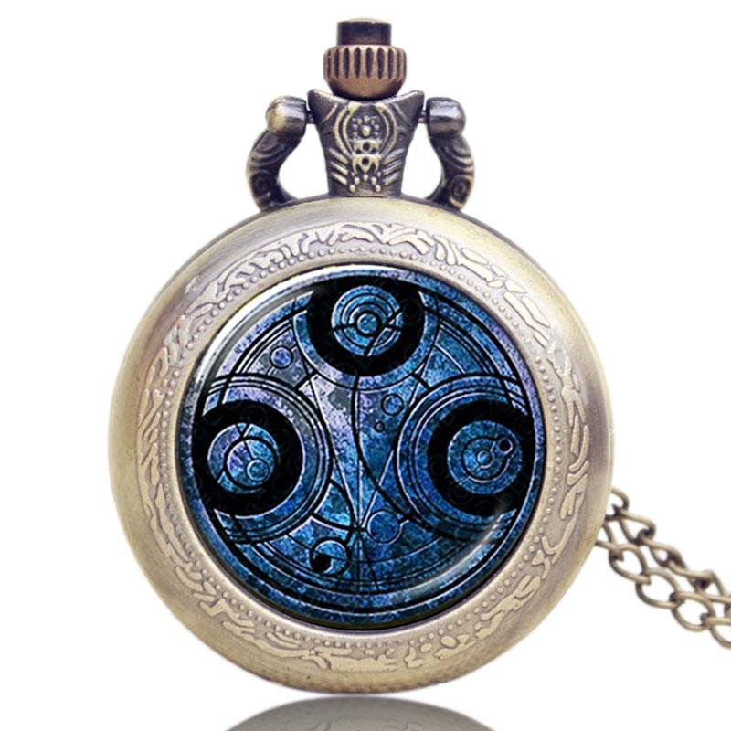 Collar de reloj de bolsillo con cadena de bronce antiguo, colgante de cuarzo con tema Doctor Who