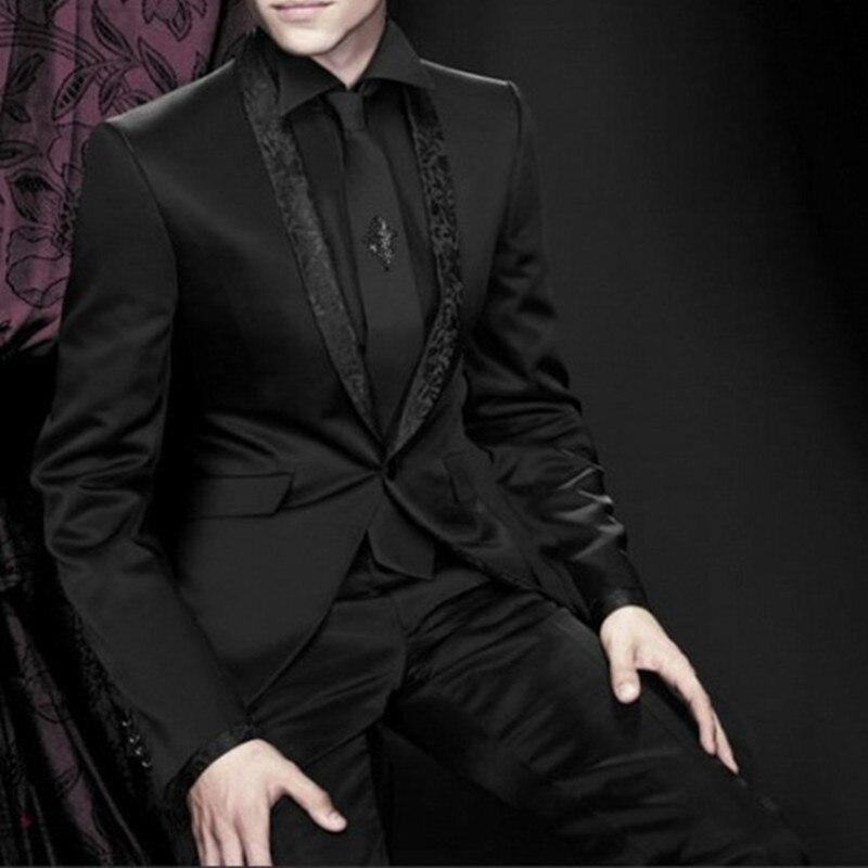 Nuevo para padrinos, esmoquin con solapa para novio, traje negro para hombre, trajes de boda para hombre 2017 (chaqueta + Pantalones + corbata + pañuelo)