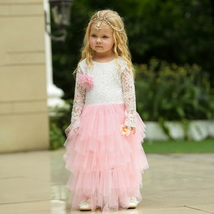 Fashion Summer Kids Long Sleeve Clothes Pink and White Patchwork Princess Evening Party Gown Girls Lace Dress