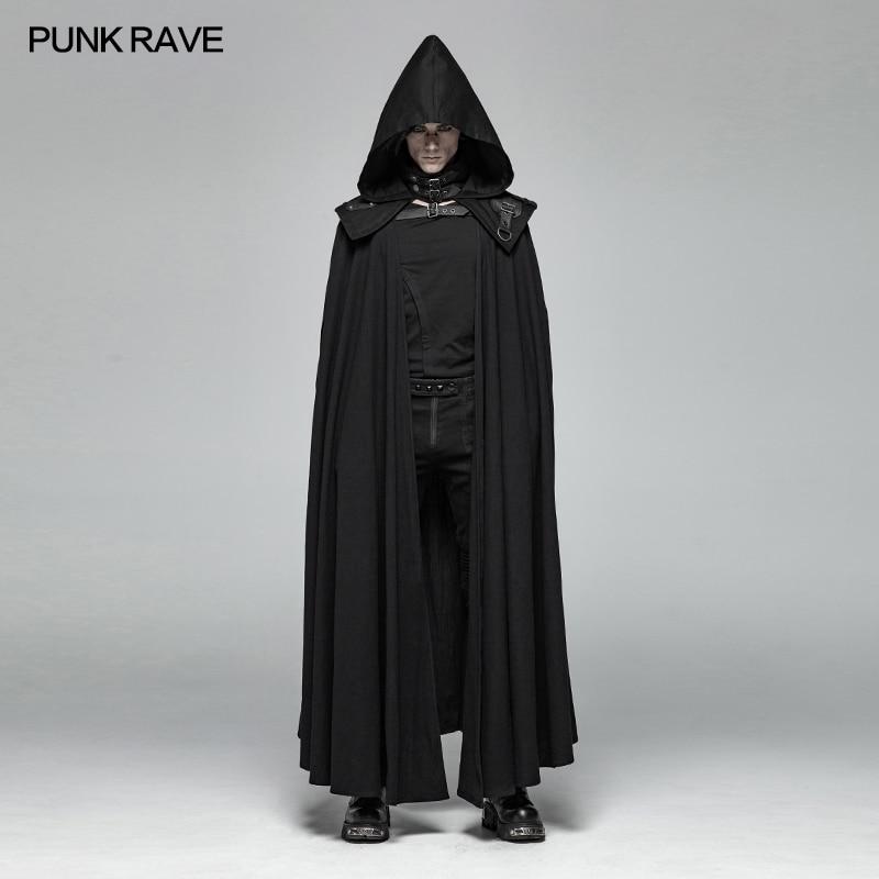 Punk Rave Amovible Gothique Noir Classique Mort Mystérieuse Hommes Manteau de Manteau Cosplay Performance Vêtements WY1008
