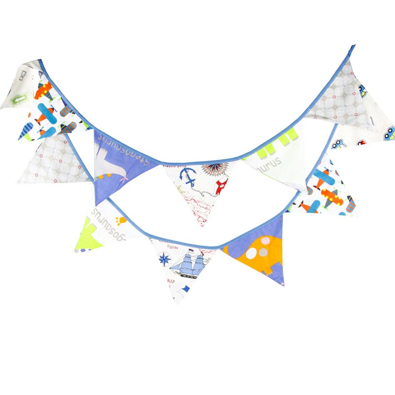 3,2 m 12 banderas coche de dibujos animados avión algodón Banner guirnalda de banderines niños habitación Baby Shower cumpleaños empavesado fiesta decoración fotografía