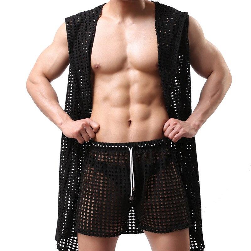Мужские сексуальные халаты, модная дышащая одежда для сна с вырезами, сексуальная одежда для сна, купальный халат, мужские халаты для геев