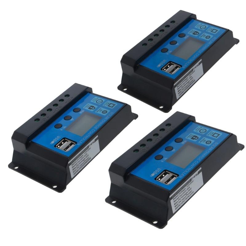 ШИМ 10/20/30a двойной USB панели солнечных батарей регулятор заряда контроллер 12/24 в LCD