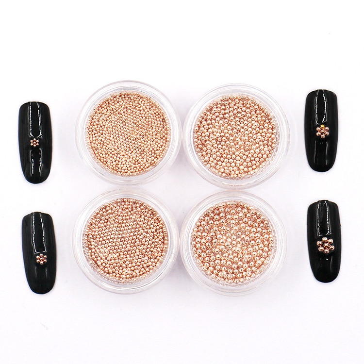 1 box new arrive Rose Gold color small metal beads nail art Decoration alloy Manicure Tool 0.8mm/1.0mm/1.2mm/1.5mm sizes