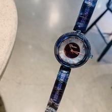 Luxury Anti Fading Noble Blue Bangle Watches for Women Elegant Fashion Bracelet Watch Quartz Faceted Glass Crystal Wrist watch