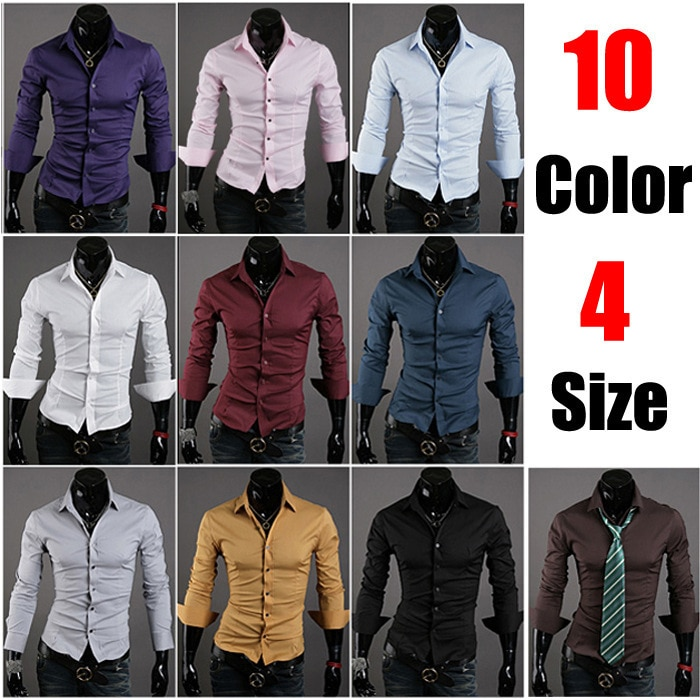 Новая специальная однотонная мужская Тонкая Повседневная рубашка VSKA с длинными рукавами, 10 цветов, 5922