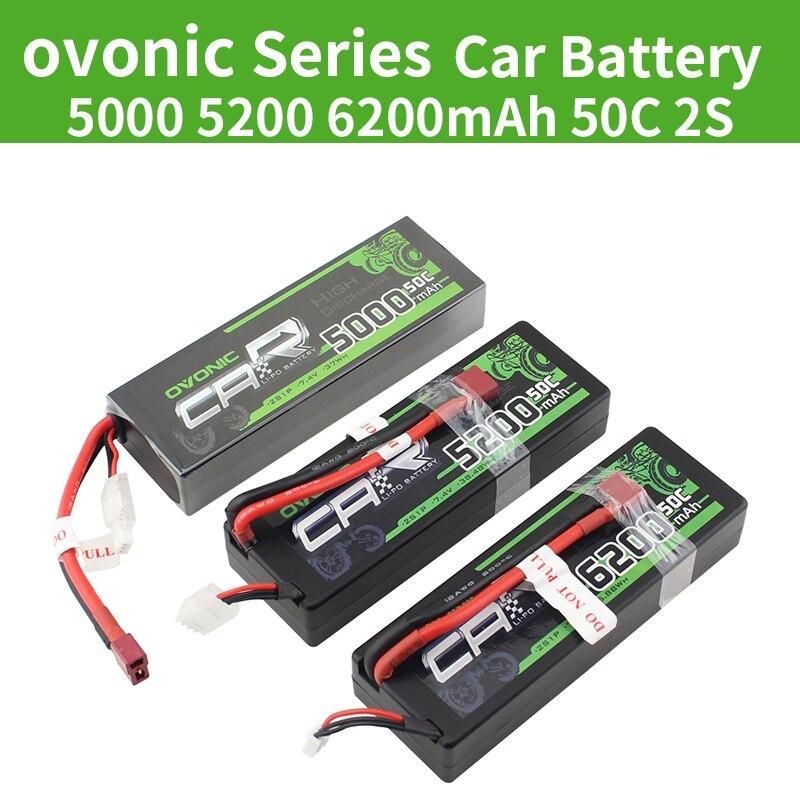 OVONIC 5000mAh 5200mAh 6200mAh LiPo 2S 50C Batteries T Deans Plug 7.4V for ARRMA 1/8 1/10 RC Car Emaxx Traxxas Slash HPI