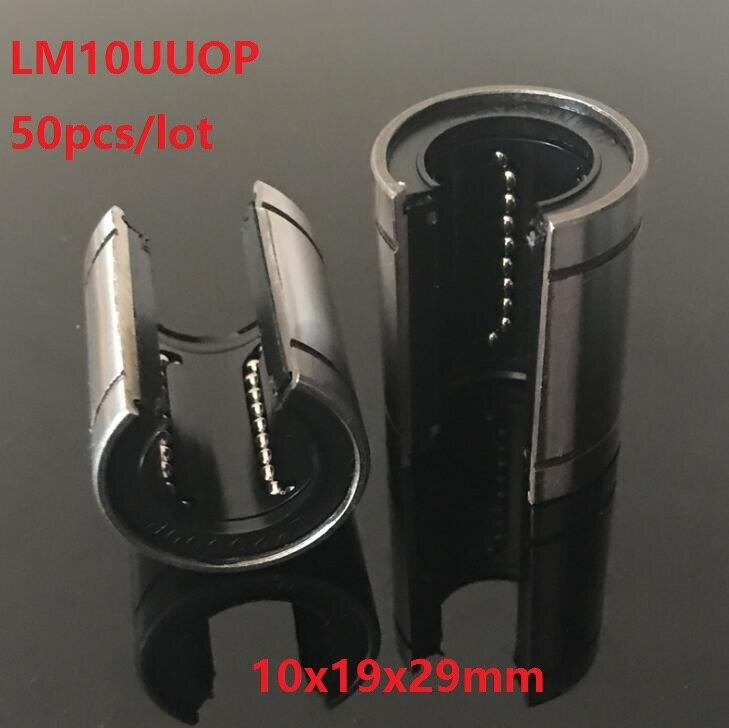50 قطعة/الوحدة LM10UUOP مفتوحة نوع خطي الكرة الحركة البطانة محامل CNC أجزاء 10x19x29mm