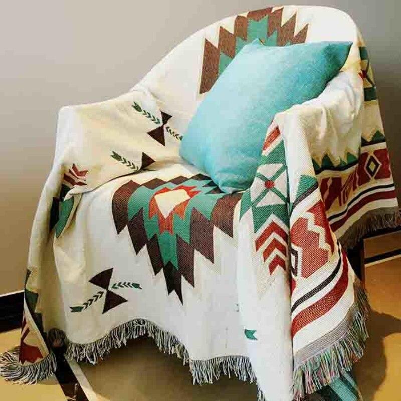 بطانية من الكتان والقطن الخالص بتصميم عتيق ، بطانية ناعمة مصبوغة بالرباط ، غطاء سرير ، لغرفة المعيشة وغرفة النوم