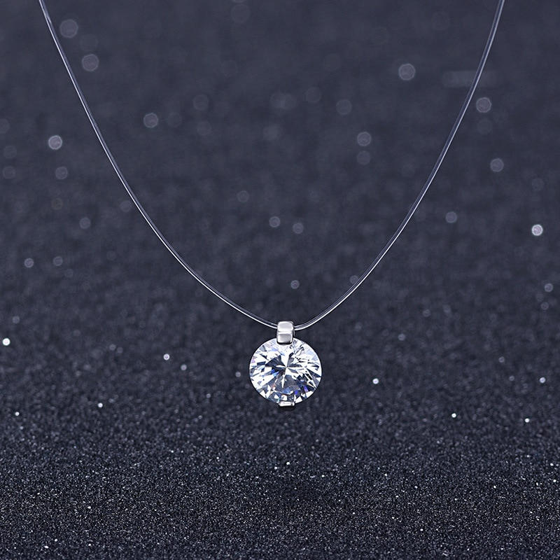 New 925 sterling silver Stereo Transparent fishing line stealth necklace Snowball Crystal From Swarovskis Locks Chain Gift