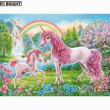 Diy 5d pintura diamante ponto cruz 2019 diamante bordado rosa unicórnios & arco-íris needlework padrão strass pinturas kbl